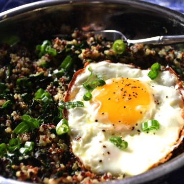 SUNNY SIDE UP WITH QUINOA WITH SAUTEED KALE – AN INSPIRED BRUNCH