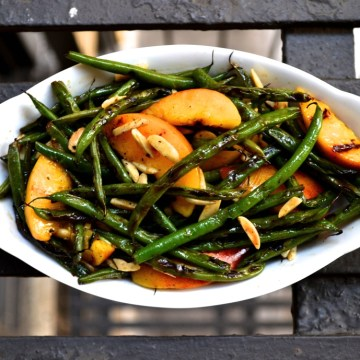 Charred String Beans & Peaches