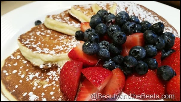 Berries and pancakes at the B-Line Diner