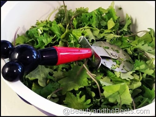 Pizza Cutter to shred greens Beauty and the Beets