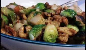 Brussels Sprouts with Pears and Walnuts