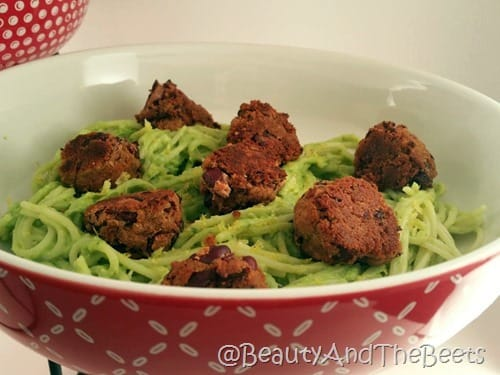 Avocado Pasta with Beanballs Beauty and the Beets