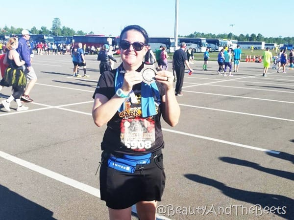 medal pose Star Wars Half Marathon Beauty and the Beets