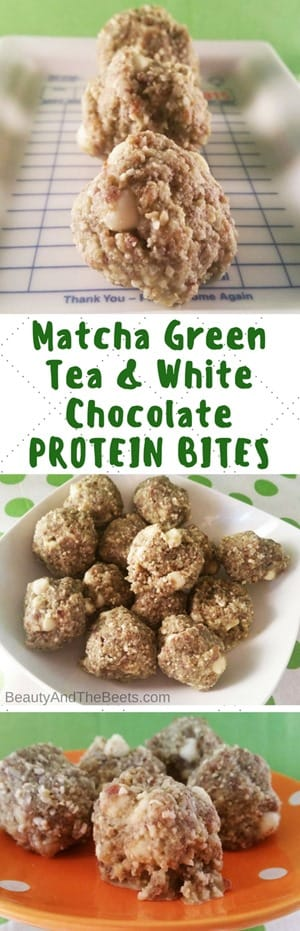 Matcha Green Tea & White Chocolate PROTEIN BITES by Beauty and the Beets