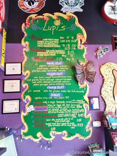Lupis Pizza Pie menu board Beauty and the Beets