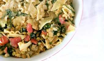 Lentil & Tomato Pasta with Spinach and Olives