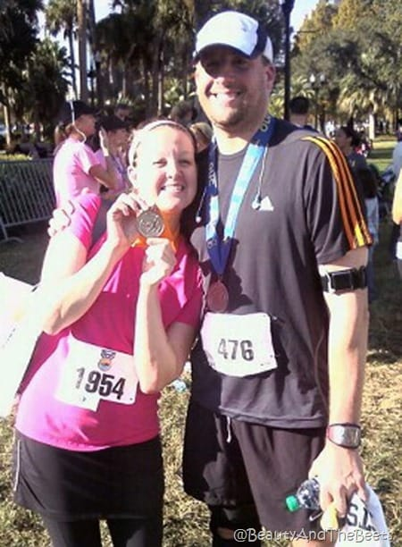 th author and her bigger brother posing with their finishing medals at the end of the race
