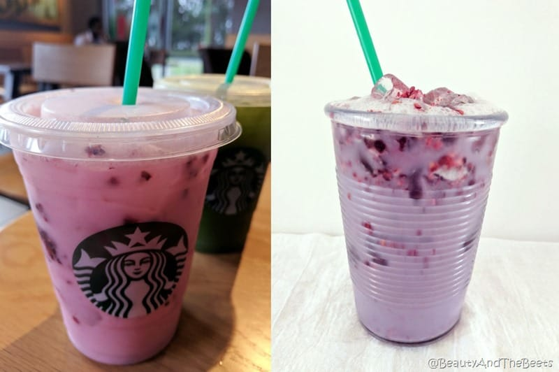 a split screen with he violet drink with ice and blackberries against a white background