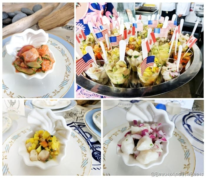 a collage of various ceviche dishes served in clam shell bowls