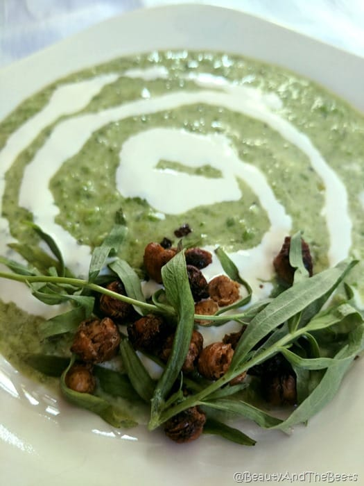 Breakfast at Tiffanys Chilled Pea Soup Beauty and the Beets smoked chickpeas