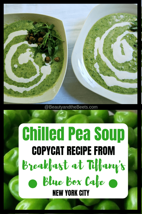 Chilled Pea Soup copycat recipe Breakfast at Tiffanys Beauty and the Beets
