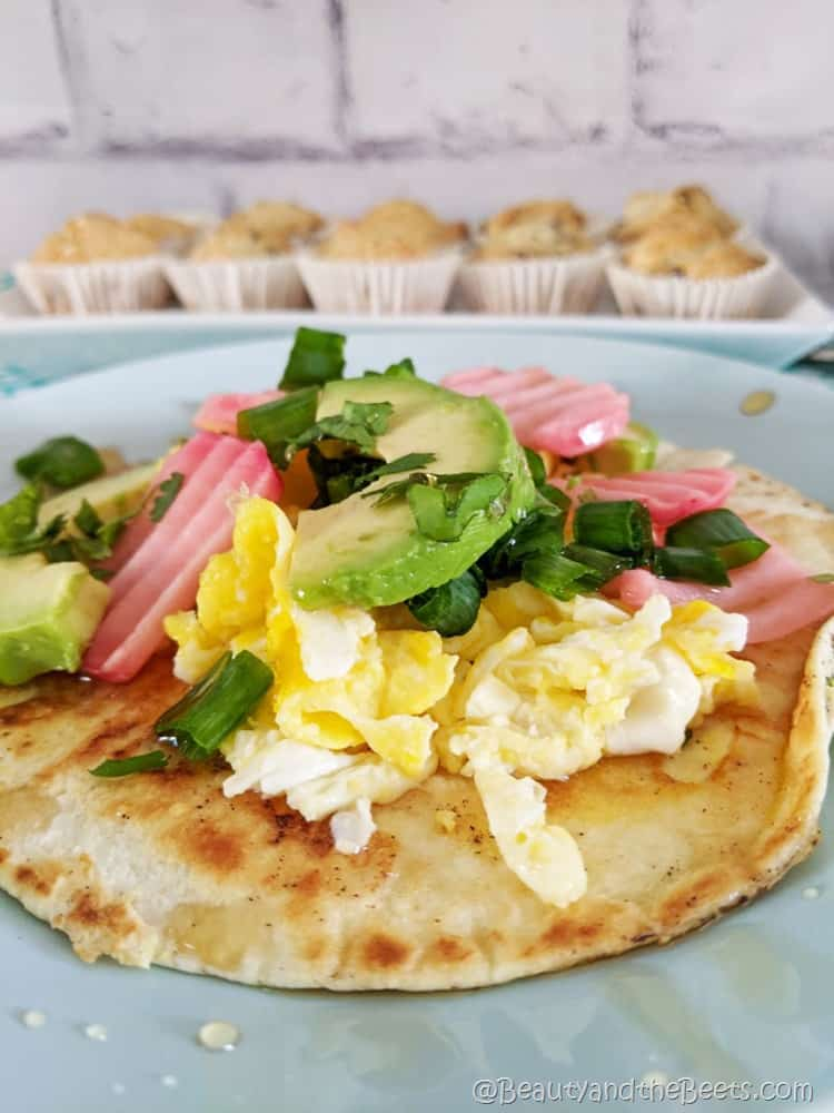 Breakfast Taco with Muffins Beauty and the Beets open face