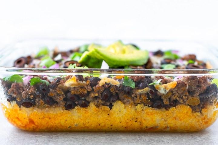taco polenta bake layers
