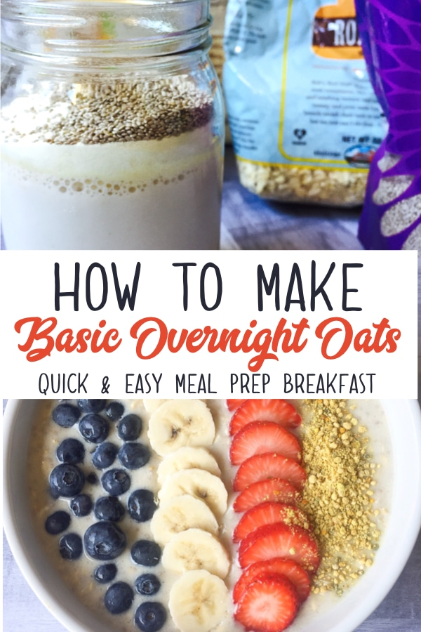A simple basic recipe for overnight oats in a jar! This is a healthy make ahead breakfast that's perfect for your next meal prep! Add in a scoop of protein powder and you have a protein packed breakfast on the go! #overnightoats #mealprep #healthybreakfast