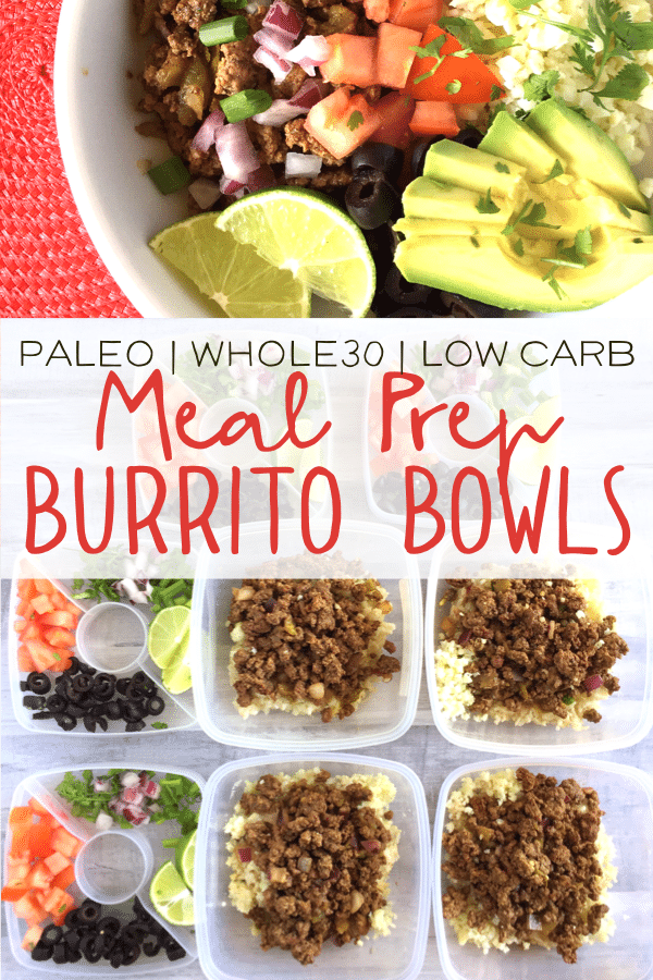 These meal prep burrito bowls are healthy and delicious! They are perfect for meal prep and can be thrown together in 15 minutes! Such a great easy meal! All the ingredients are Whole30 compliant and this dish is also keto friendly! #keto #paleorecipes #whole30recipes #burritobowls #mealprep