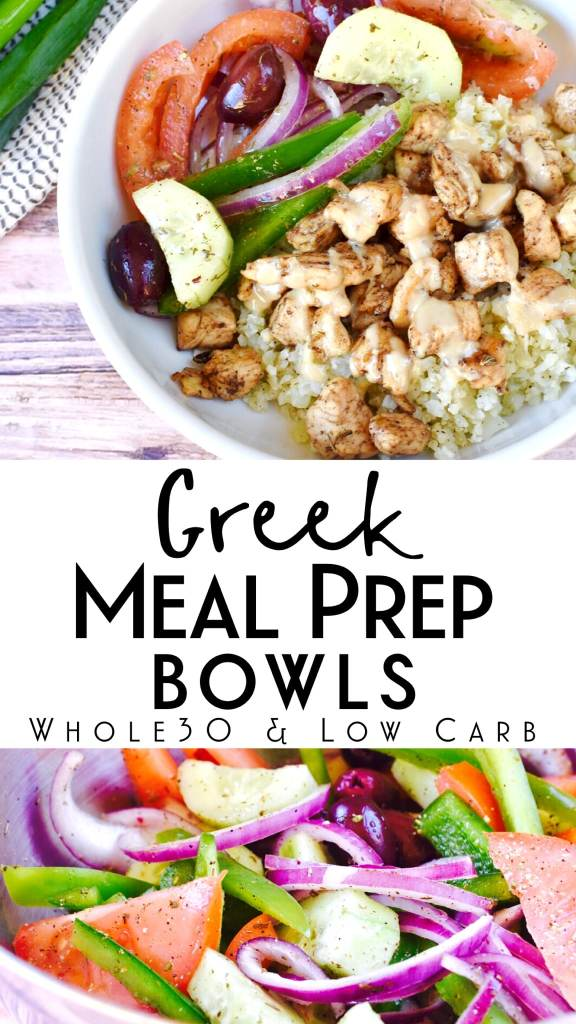 This delicious greek meal prep bowl is Whole30 compliant, paleo and Keto friendly! It's a super easy and healthy make ahead lunch that has tons of flavor! #mealprepbowl #whole30recipes #keto #paleo #greek