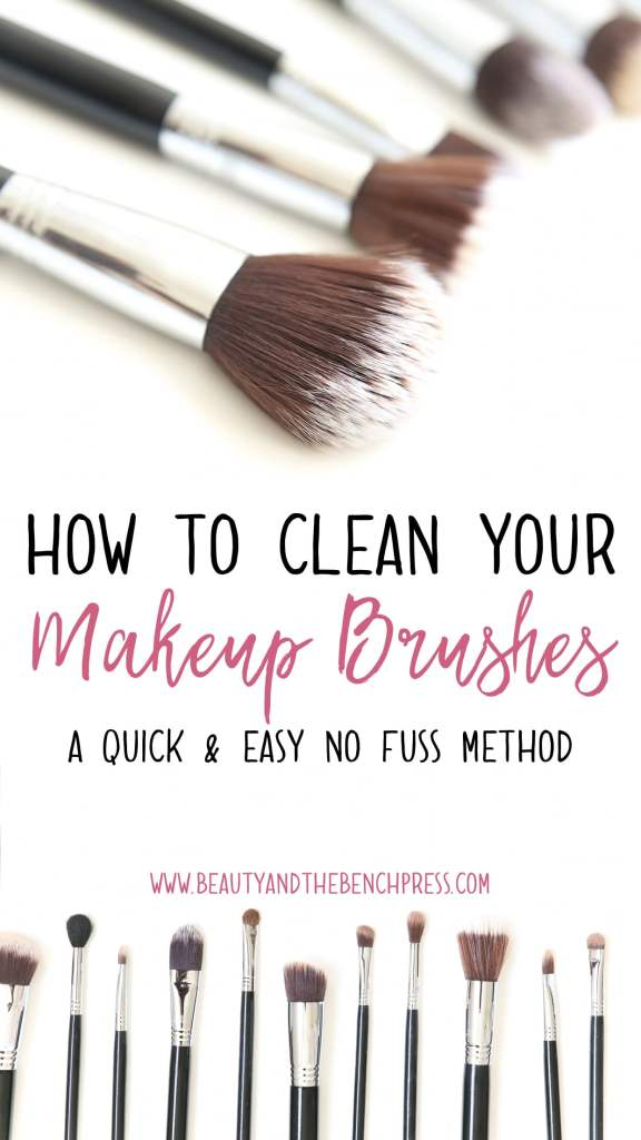 The quick and easy way to wash your makeup brushes. This method gets your makeup brushes clean and residue-free! #makeupbrushes