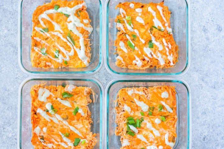 buffalo chicken casserole in meal prep containers