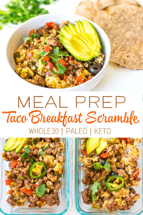 This Taco Breakfast Scramble is the perfect easy recipe to spice up your meal prep game! This recipe is Whole30 compliant, low carb and the mix of flavors will have you making this on repeat! #whole30 #paleo #paleorecipes #whole30breakfast