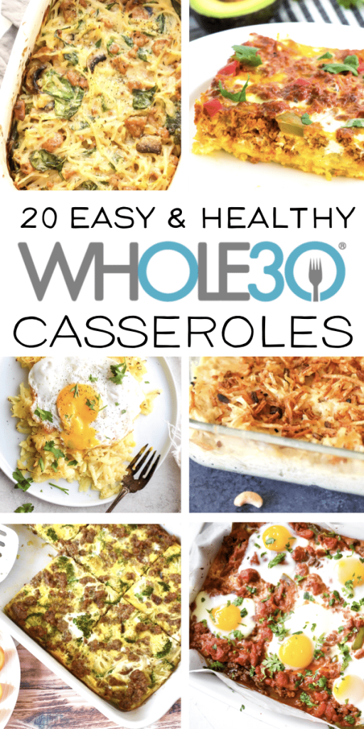 This post features 20 healthy and delicious casserole dishes! Because these casserole recipes are all Whole30 compliant, they are also dairy-free, gluten-free and grain-free. These quick and easy recipes are perfect for bust weeknights or your Sunday meal prep! #whole30 #paleo #whole30recipees #healthycasseroles