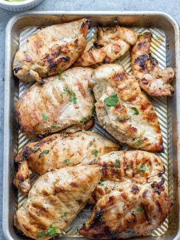 large plate of grilled chicken