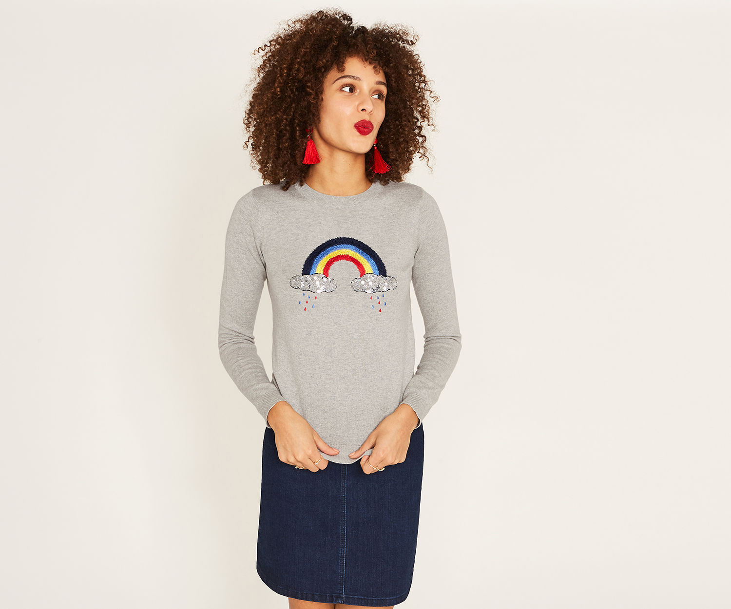 Oasis Embroidered Rainbow Knit
