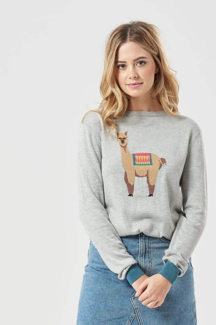 Rita Llama Sweater with Contrast Cuffs