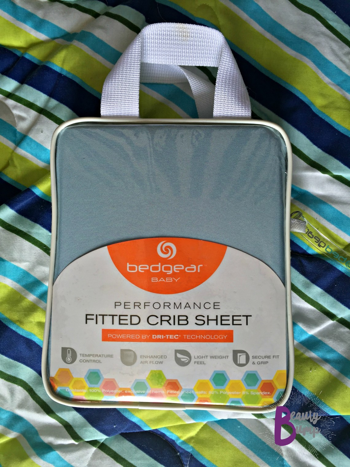 Bedgear Baby Performance Fitted Crib Sheet powered by DRI-TEC technology packaging