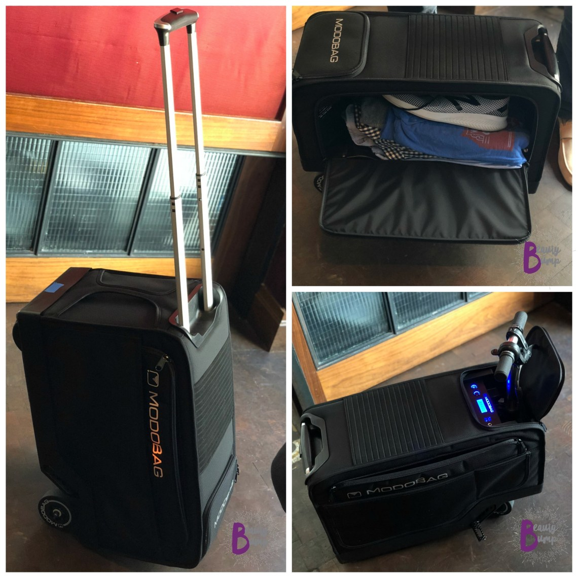 Zip through the airport on the Modobag ride-on suitcase.