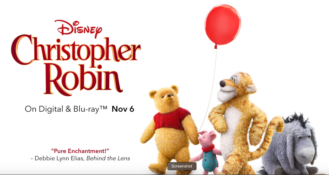 Disney's Christopher Robin DVD November 6th