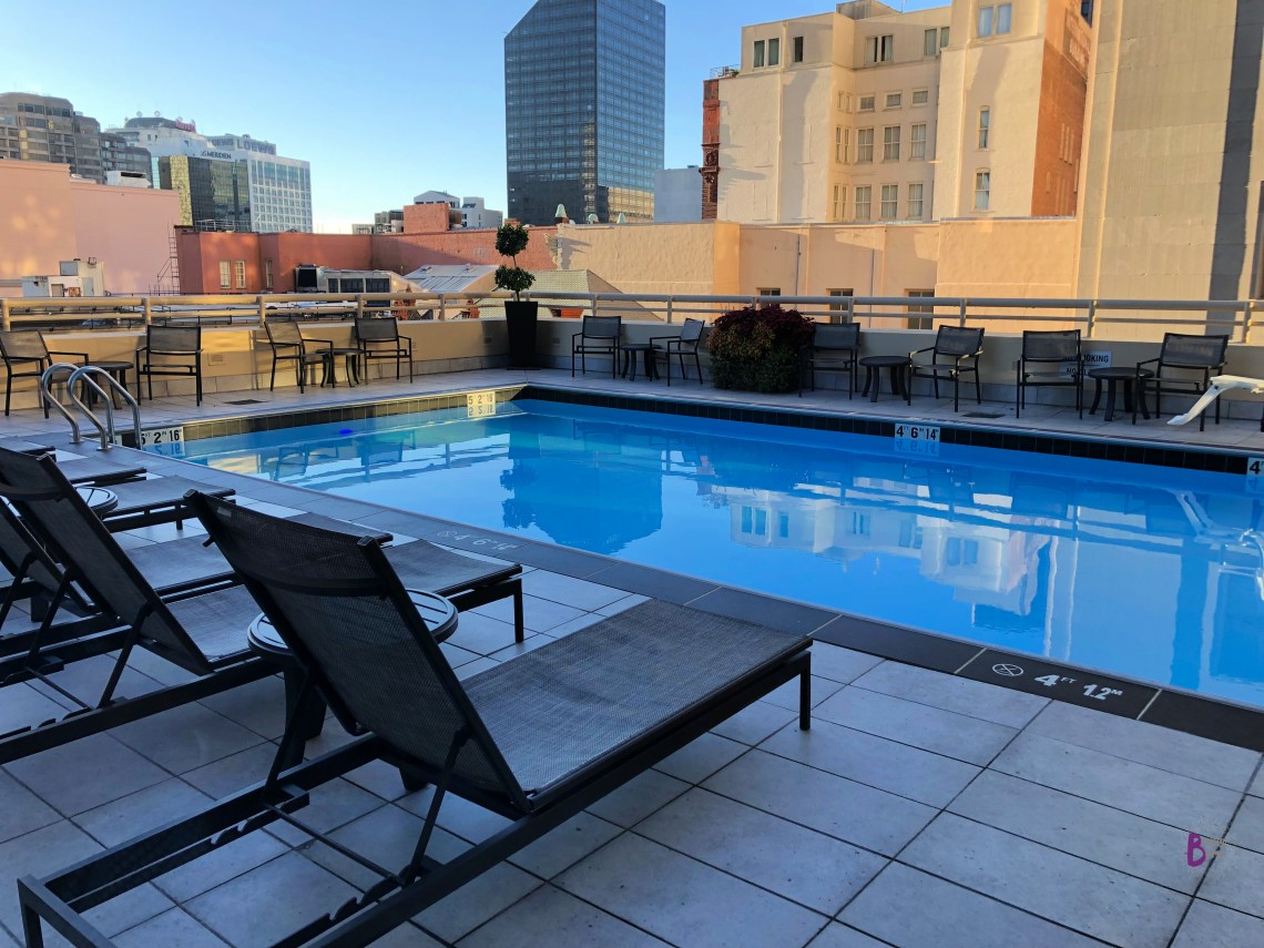 JW Marriott NOLA Pool area offers beautiful views of the French Quarter skyline.