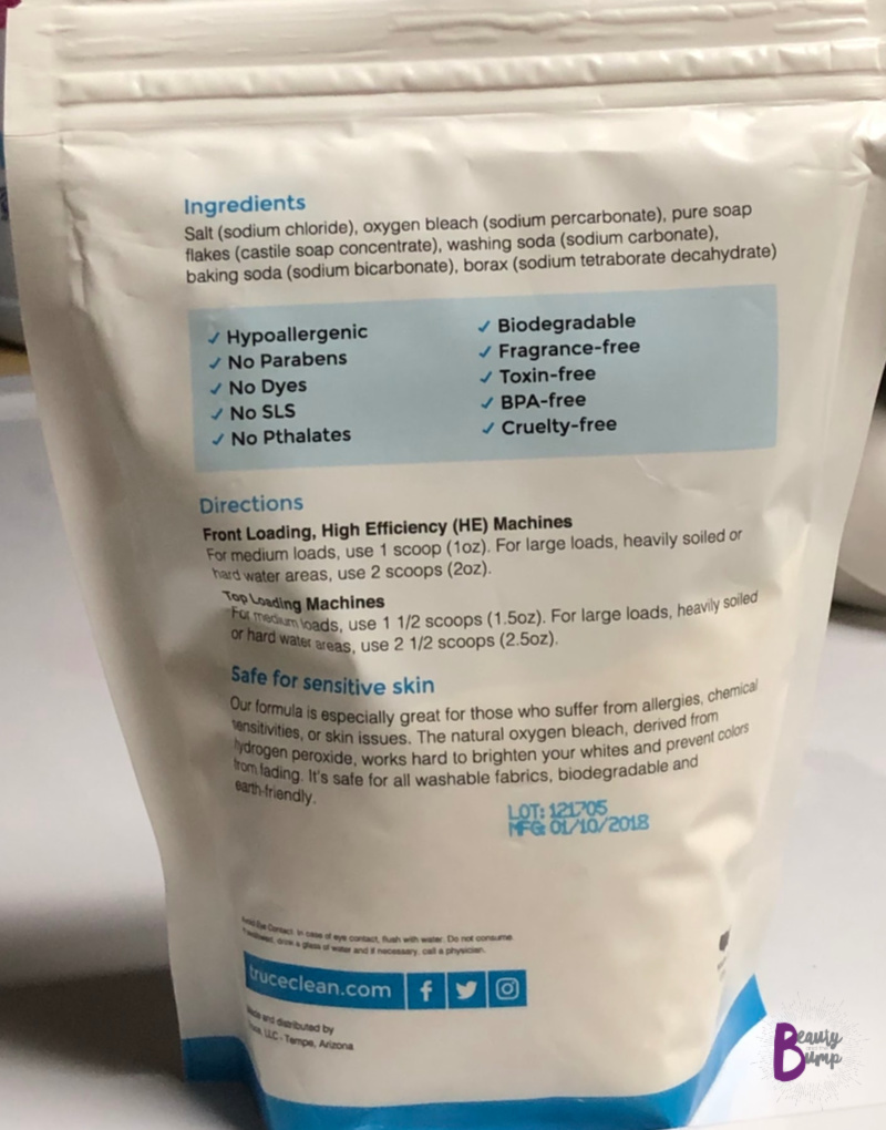 truce Safe & Simple Laundry Powder ingredients