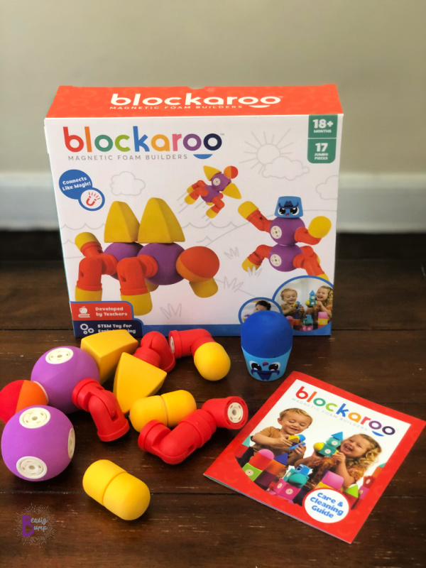 A toy created by teachers is sure to become a parent favorite! Blockaroo Magnetic Foam Building Blocks incorporate sensory, STEM, and fun for toddlers to enjoy creative imaginative play. These soft foam magnetic blocks click together like magic, rotate 360-degrees, and always attract to each other. Because Blockaroos float, these make a great toddler toy for the bath.  Additionally, their materials make them easy to wash -in the dishwasher- to sanitize.