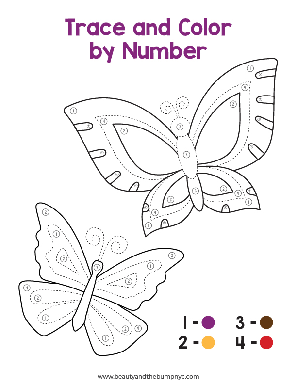 Trace and color by number mindfulness activity.