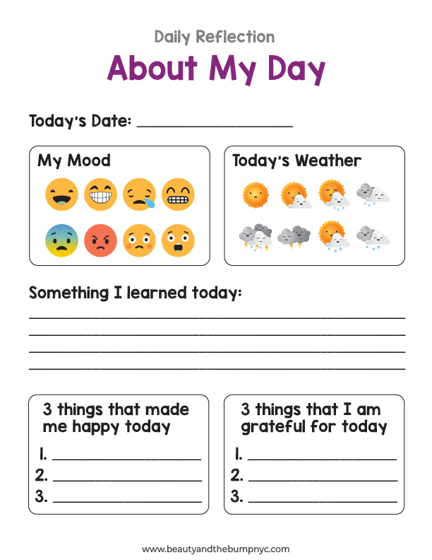 Kids should use this to reflect on their day.