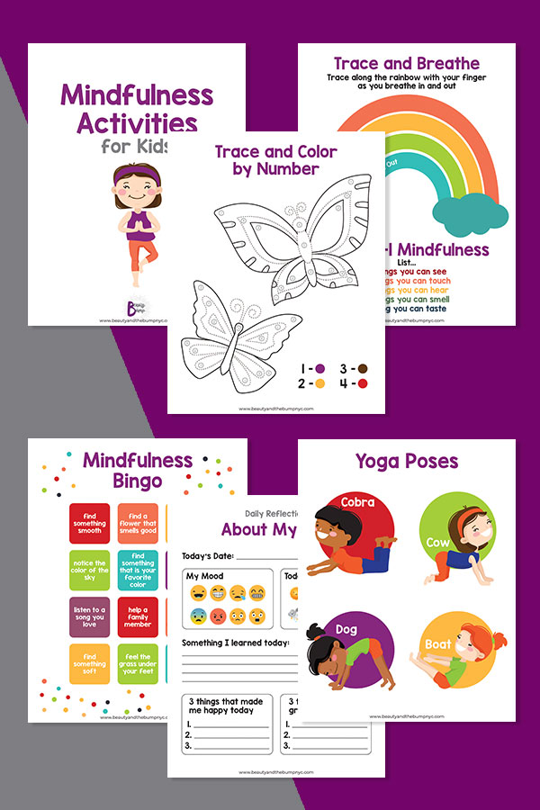 I'm sharing 5 Mindfulness Activities for Kids. Now, more than ever is the time to teach them how to manage stress and emotions. 1. Trace and Color by Number Mindfulness Activity 2. Trace and Breathe Mindfulness Activity 3. Mindfulness Bingo 4. Yoga Poses 5. Daily Reflection About My Day