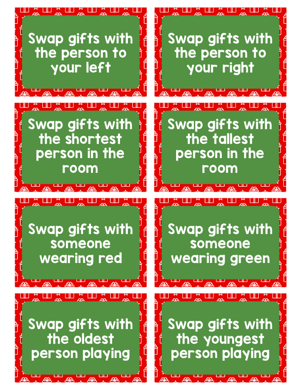 Whether at home or at the office, make Holiday Gifting Fun with Gift Exchange Printable Instruction Cards for Christmas Parties. White elephant gift exchange