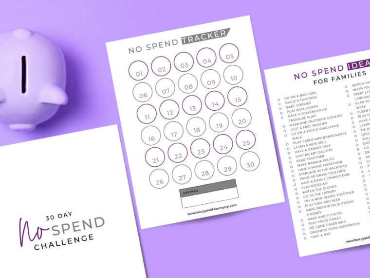 No-Spend Challenge Printable Tracker