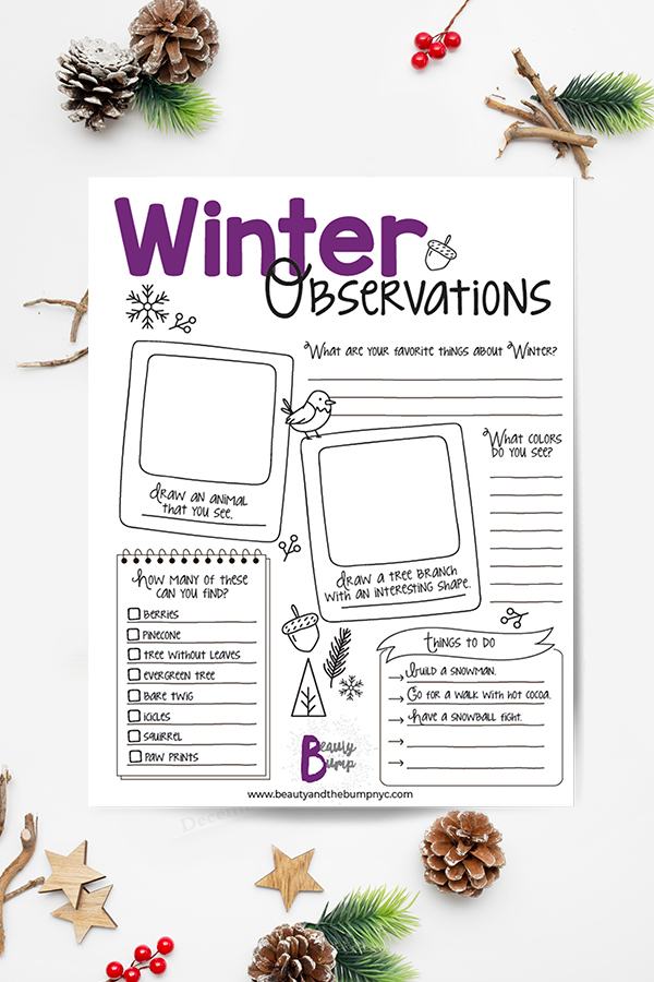 The winter activities on this printable observation sheet are easy and fun. They make a great learning and bonding experience for kids and parents.