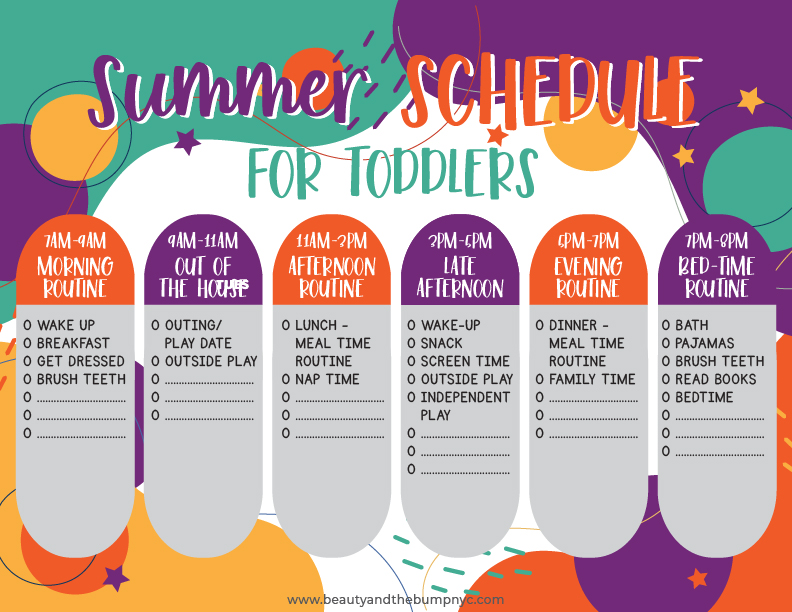 This printable Summer Toddler Schedule and Bucket List will help get your little ones on an ideal schedule without running out of things to do with them!