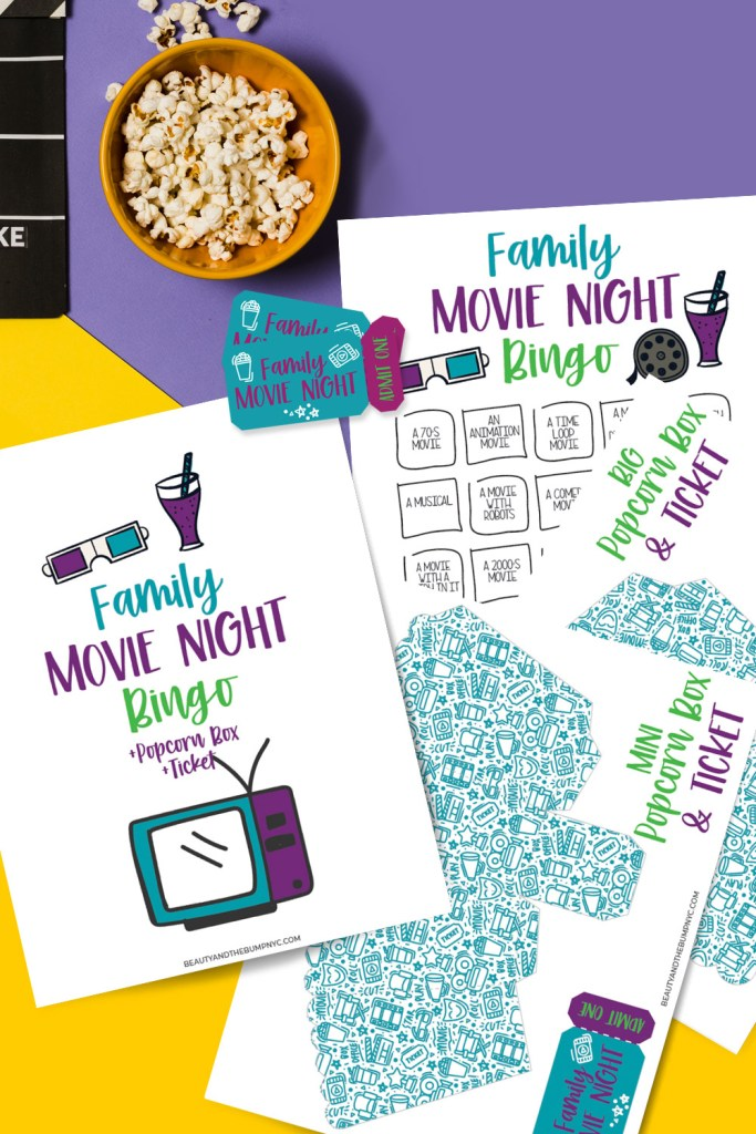 You can use the Family Movie Night Bingo + Popcorn Box & Tix Printable to decide which movie you'll watch and then set up the boxes and tickets for each person in the home.