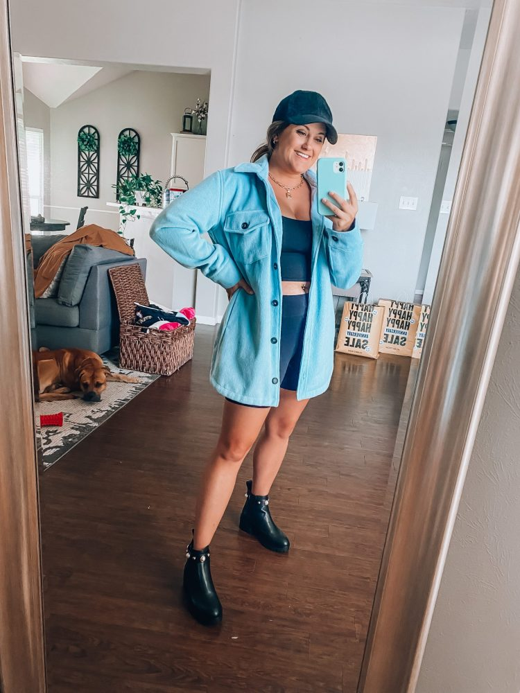 NSale 2021 biker shorts and shacket outfit