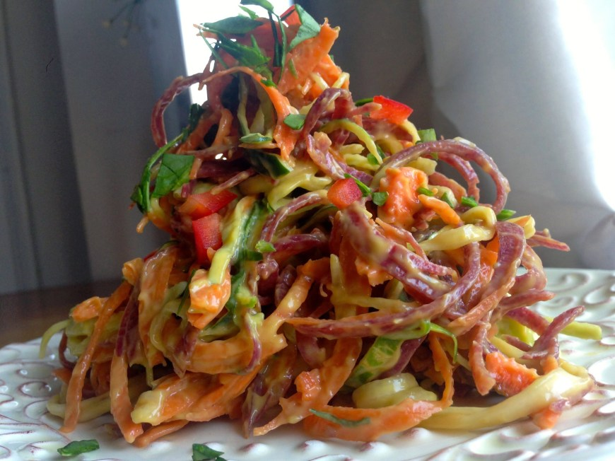 Mango Ribbon Salad by BeautyBeyondBones #glutenfree #grainfree #vegan #paleo #specificcarbohydratediet #food #edrecovery #healthyfood #vegetarian