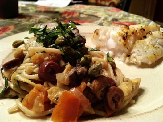 Italian Artichoke Pasta with Broiled Hake Fish by BeautyBeyondBones #cooking #food #glutenfree #paleo #foodie #edrecovery