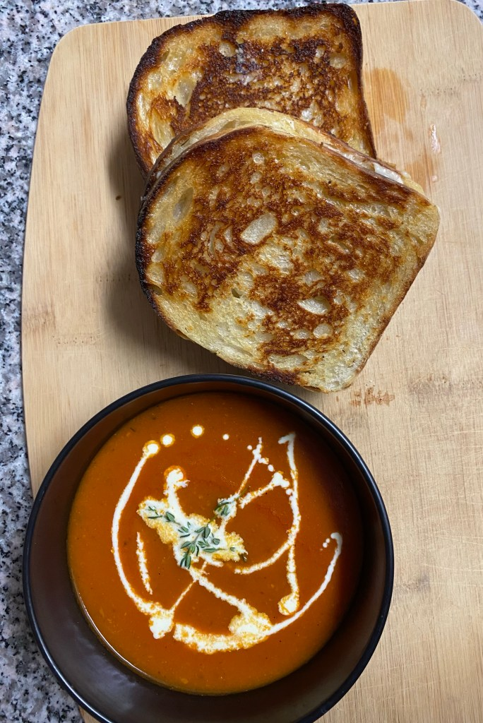 Bacon Tomato Soup with Gourmet Grilled Cheese! By BeautyBeyondBones #comfortfood #healthyfood #bacon #soup #edrecovery #cheese #yum #food