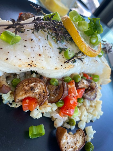 Keto never tasted this good! Italian Eggplant Pilaf! A decadently delicious cauliflower rice pilaf with Italian veggies, and topped with succulent Chilean sea bass! This gluten free and paleo dinner will be a family favorite! #food #cooking #health #healthyfood #keto #paleo #glutenfree #dairyfree #specificcarbohydratediet #dinner