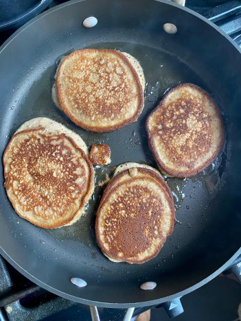 A decadent and down right delicious breakfast recipe! Banana Pancakes! And they're secretly healthy! Made from bananas and almond flour, they're gluten free and paleo too! #healthyfood #breakfast #pancakes #food #paleo #glutenfree #brunch #vegetarian #edrecovery #wellness