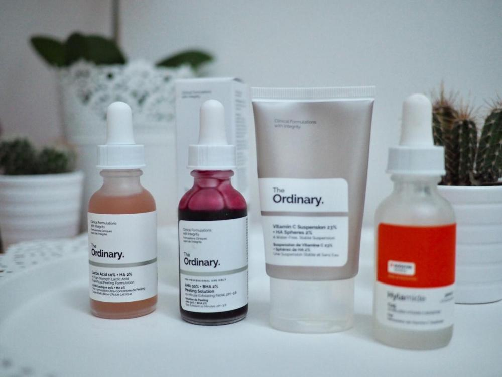 The Ordinary Acid Skincare Regime for All Skintypes- row of dropper bottles