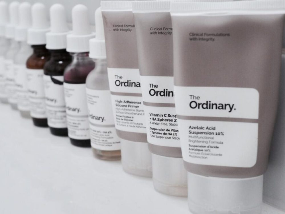 New Suggested The Ordinary Regimens For All Skin Types- row of dropper bottles and tubes