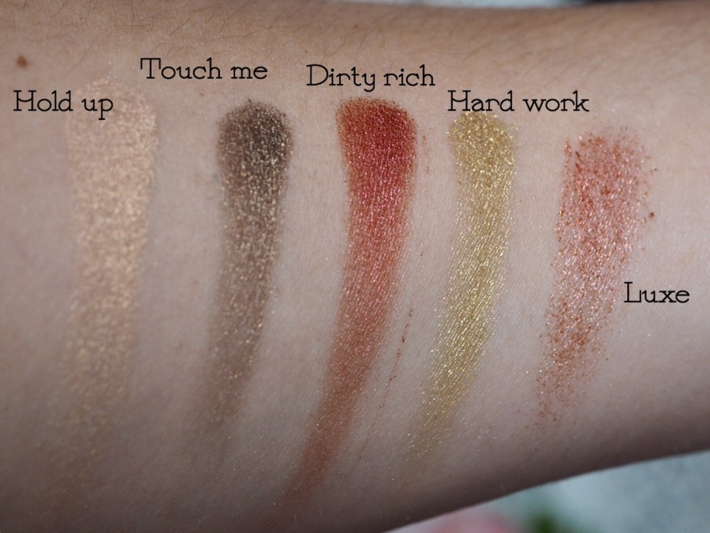I Heart Makeup I Heart Chocolate Rose Gold Palette Top Row Arm Swatches
